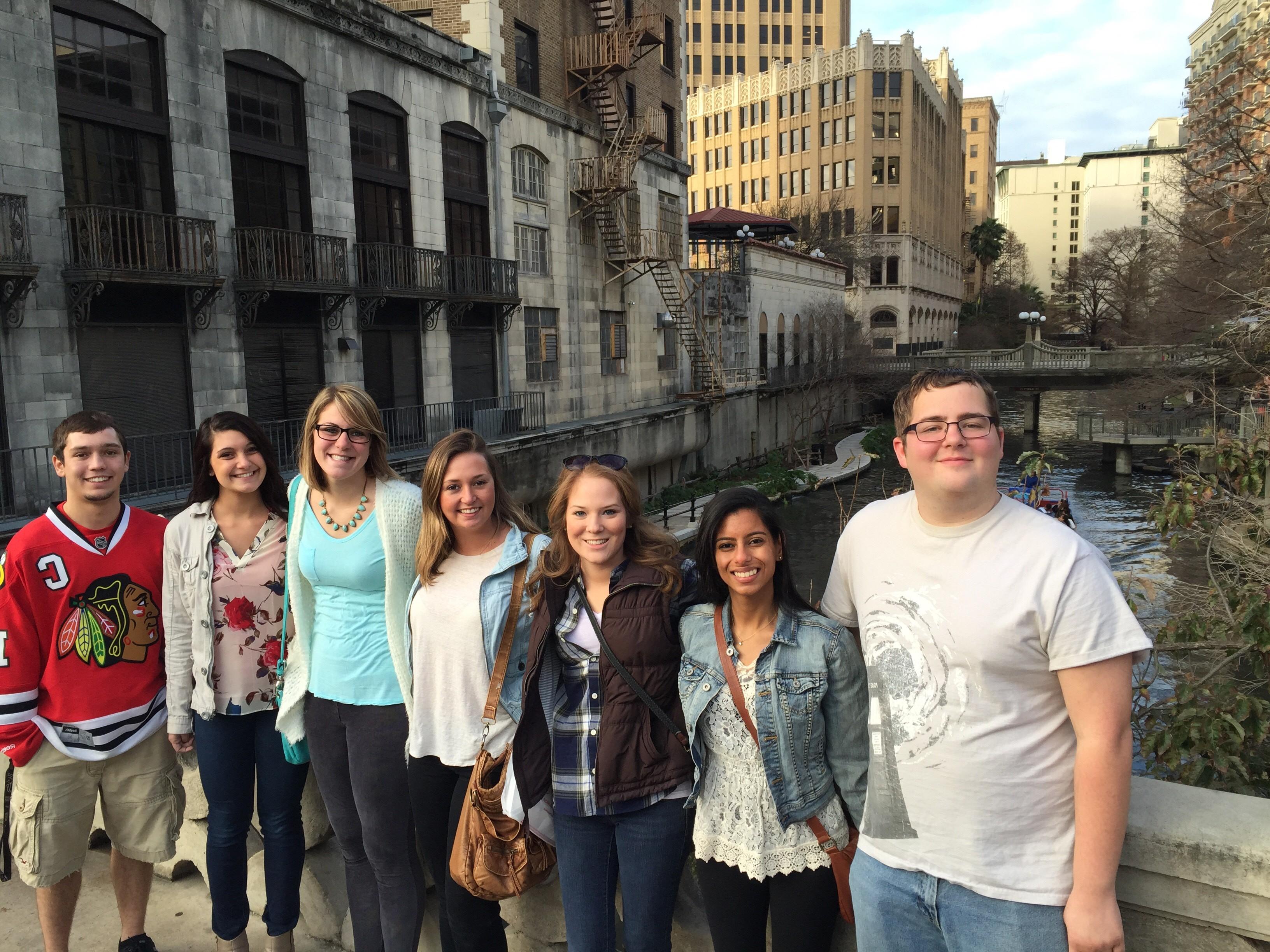 Illinois State student teachers at the Riverwalk.