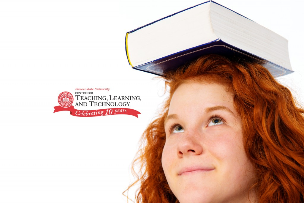 girl with book on top of her head
