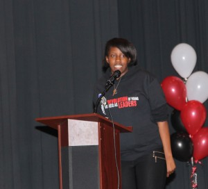 A Simeon Career Academy student performs slam poetry.