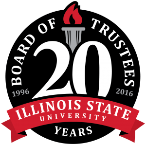 logo for the Illinois State University Board of Trustees 20th anniversary