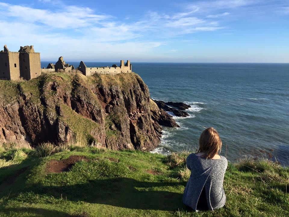 Overlooking cliffs in Scotland