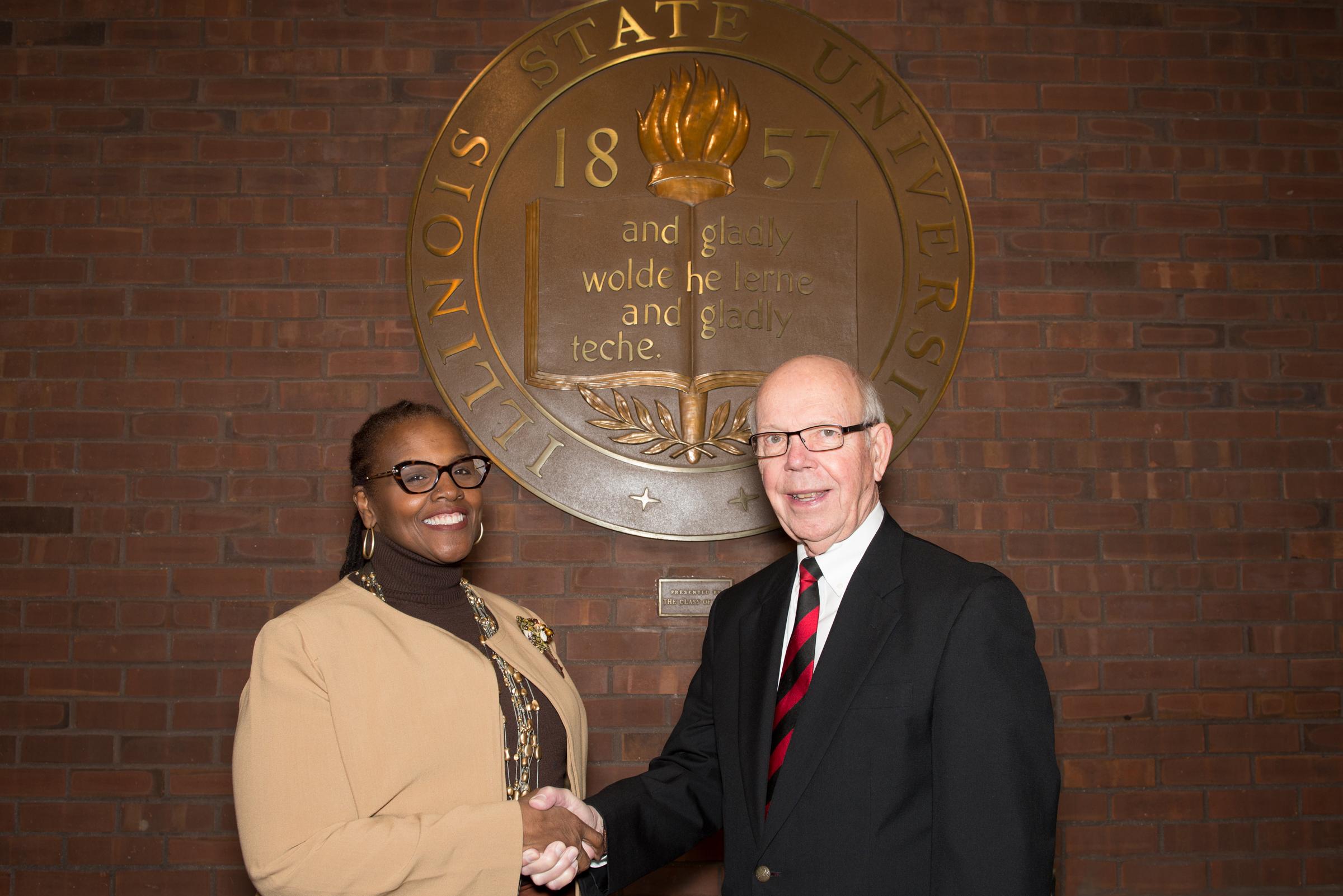 Pamela Hoff and former Illinois State University President David Strand