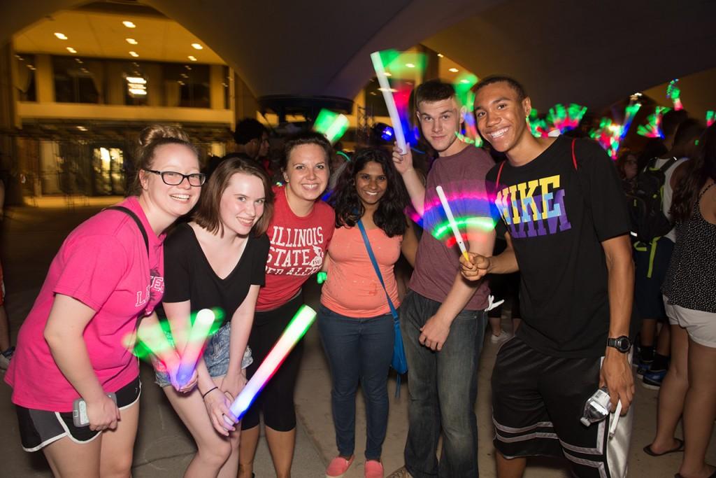 Students at ISU neon event