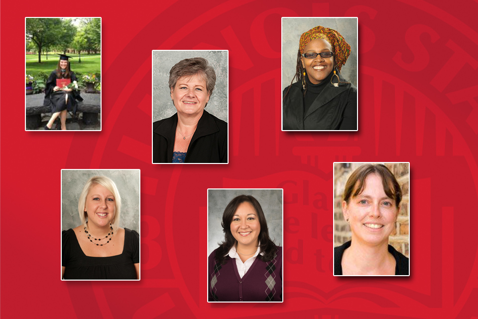 Six College of Education faculty and staff members received Founders Day awards by the University. (From left) Sarah Dolan, April Mustian, Maureen Smith, Yojanna Cuenca-Carlino, Pamela Hoff, and Jennifer O'Malley.