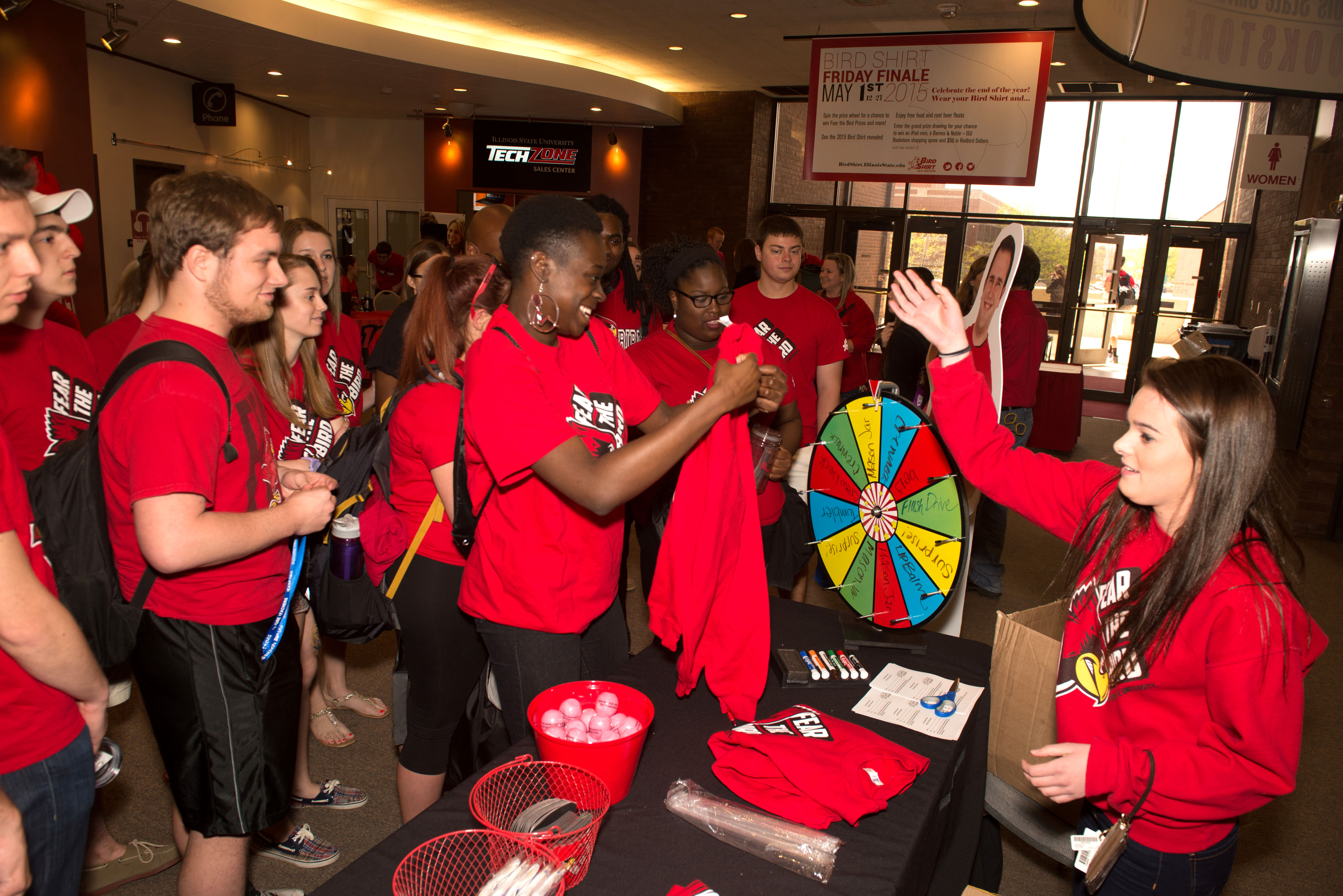 Students spin the prize wheel