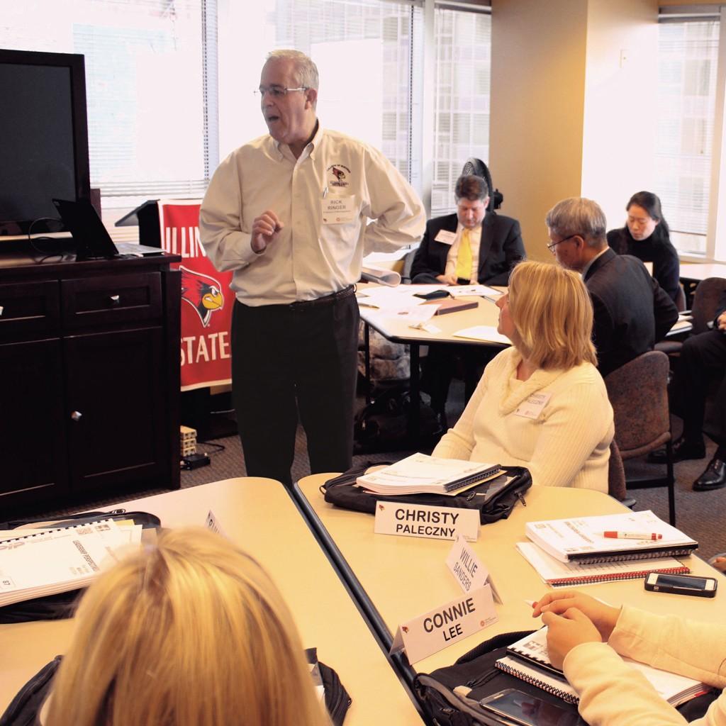 Richard Ringer speaks to a class