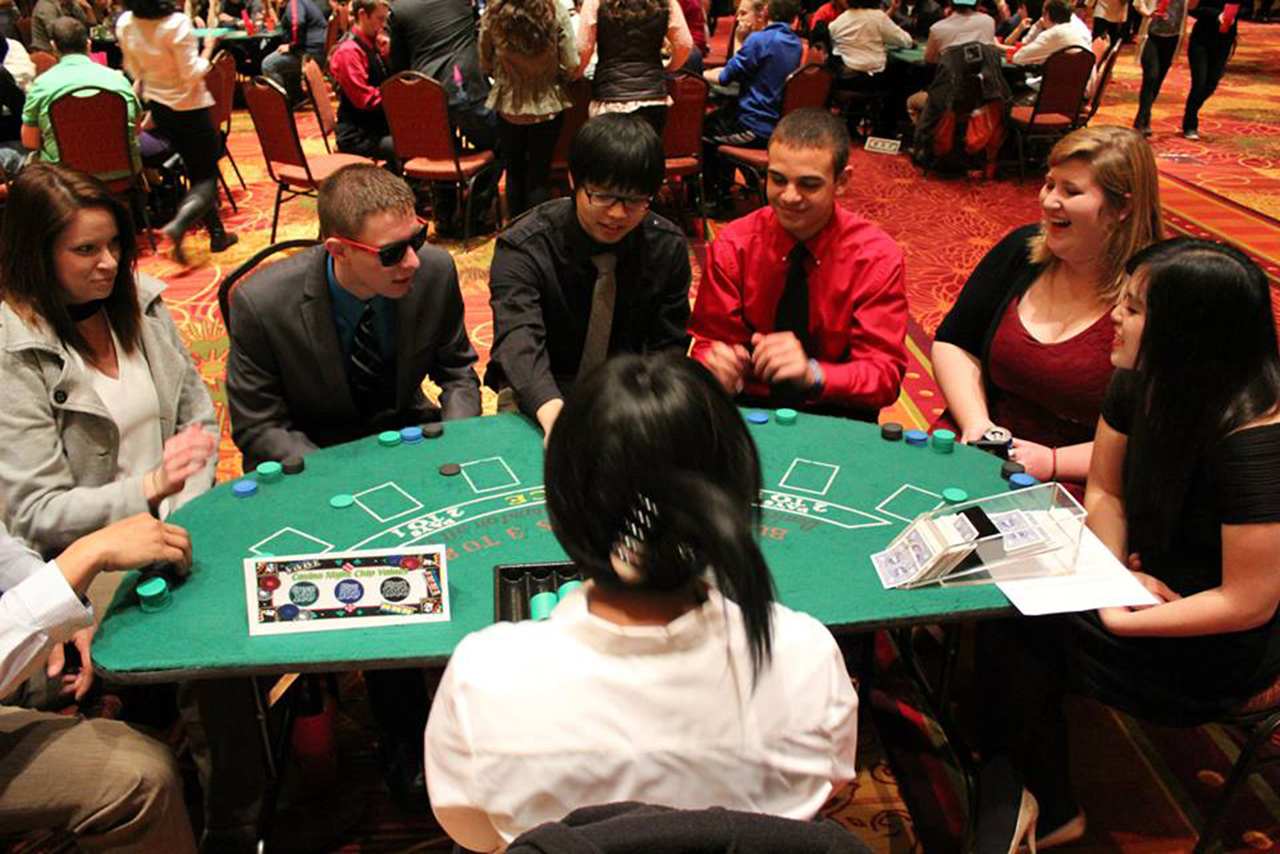 Illinois State students at a past Up Late at State Casino Royale event