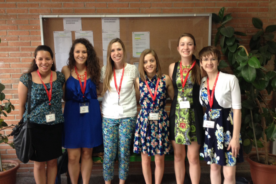 Education majors who participated in the College of Education's Alcalá de Henares, Spain study abroad trip in the summer of 2015 pose for a photo in the school where they worked with Spanish students and teachers.