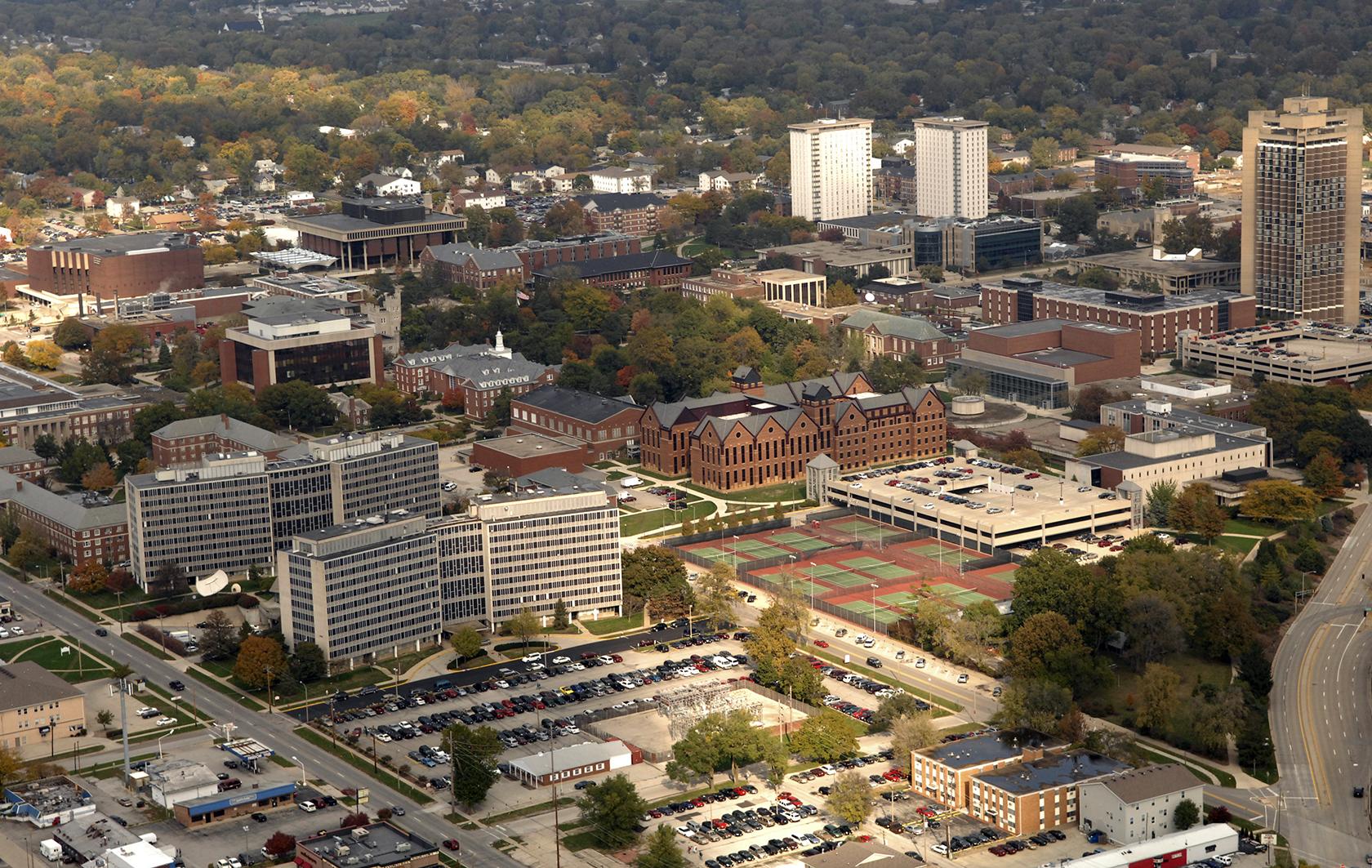 Aerial view of campus looking NE