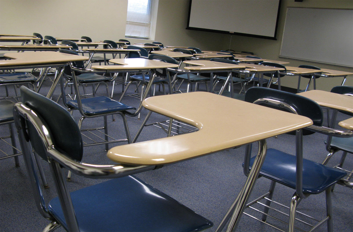 image of a desk in a classroom at Illinois State University