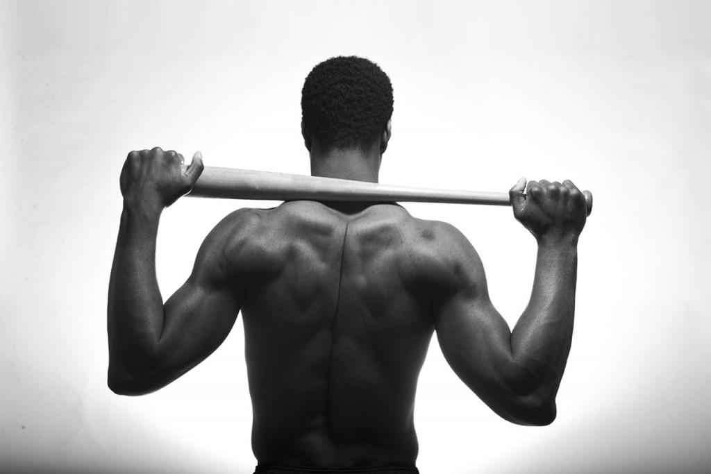 Athlete holding bat