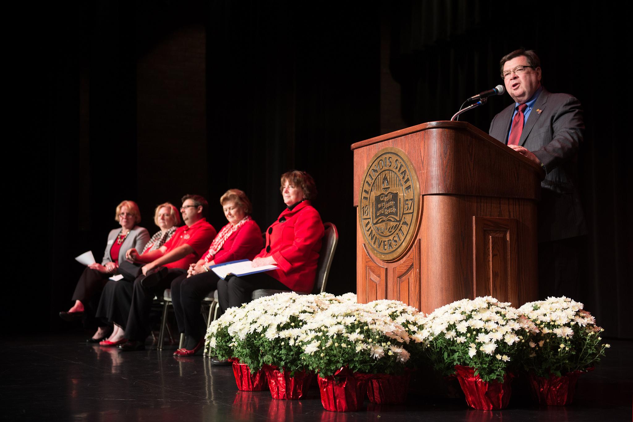 Larry Dietz speaks at podium