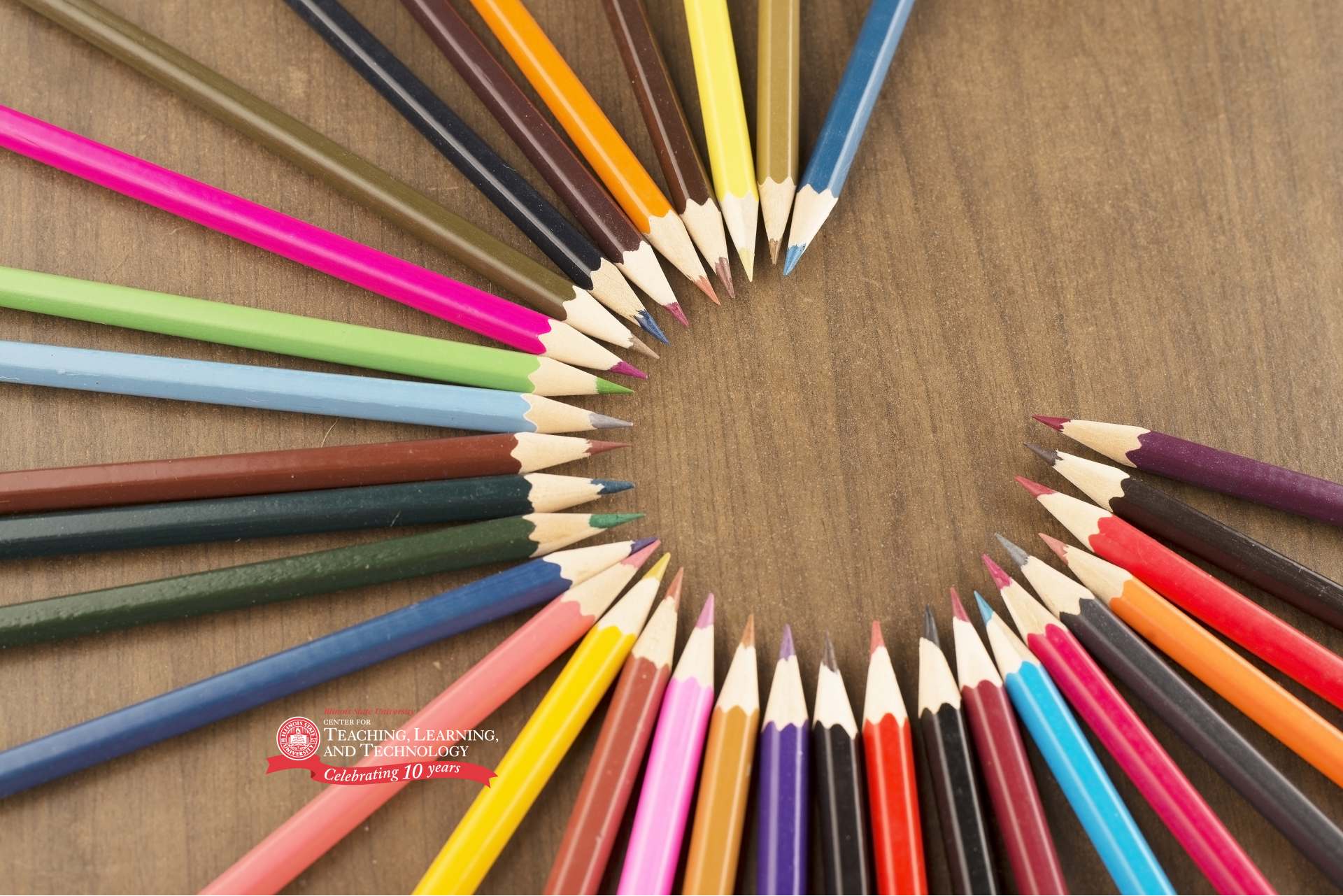 Colored pencils with CTLT anniversary logo