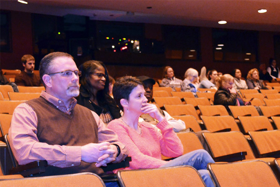 Bloomington-area teacher and Bloomington Education Association President Rich Baldwin M.S. '99 (left) attends the screening and expert panel for Paper Tigers on March 30.