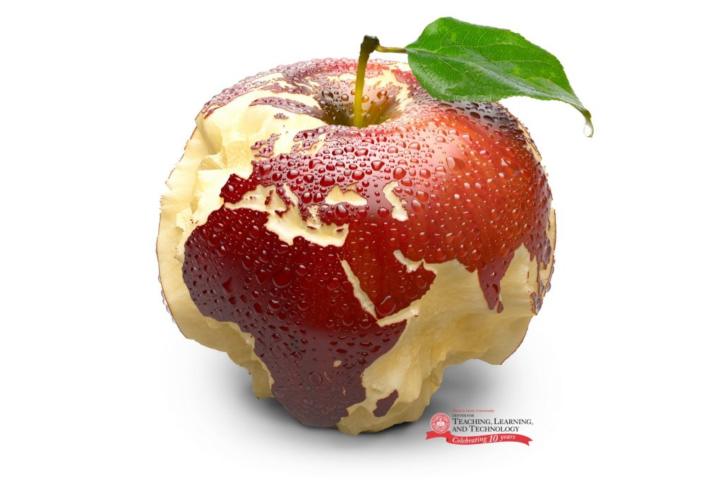Apple in the shape of a globe with CTLT logo