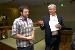 Jim talks to a student