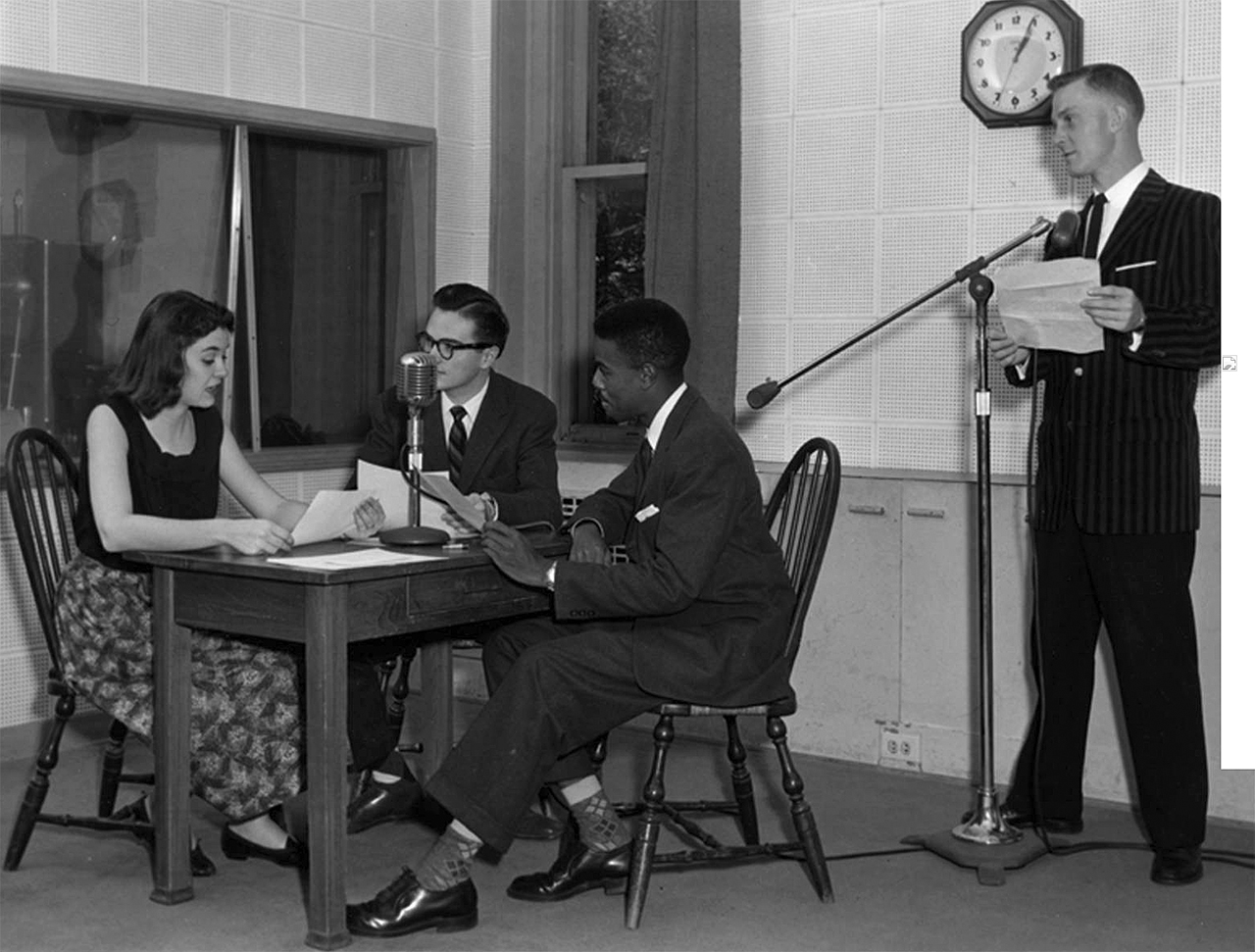 A 1956 broadcast, opposite page, captures the educational programming done from the 1930s into the 1950s. WJBC offered airtime to the ISU station. (Courtesy of the Dr. Jo Ann Rayfield Archives at Illinois State University)
