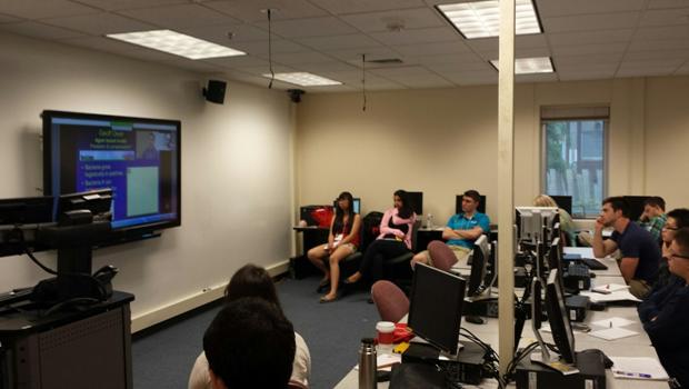 Biomathematics students sitting in a classroom