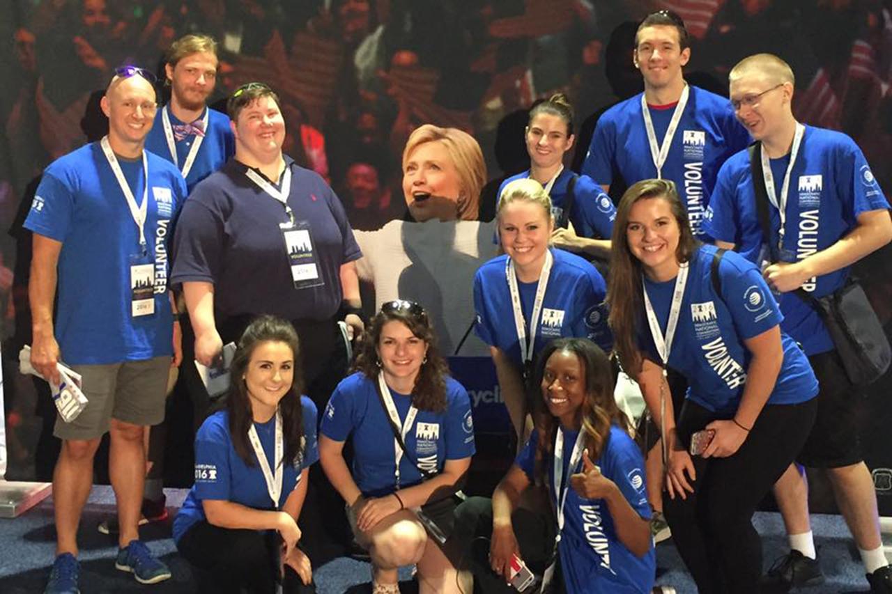 Professor Erik Rankin (far left) took 10 ISU students to the Democratic National Convention.