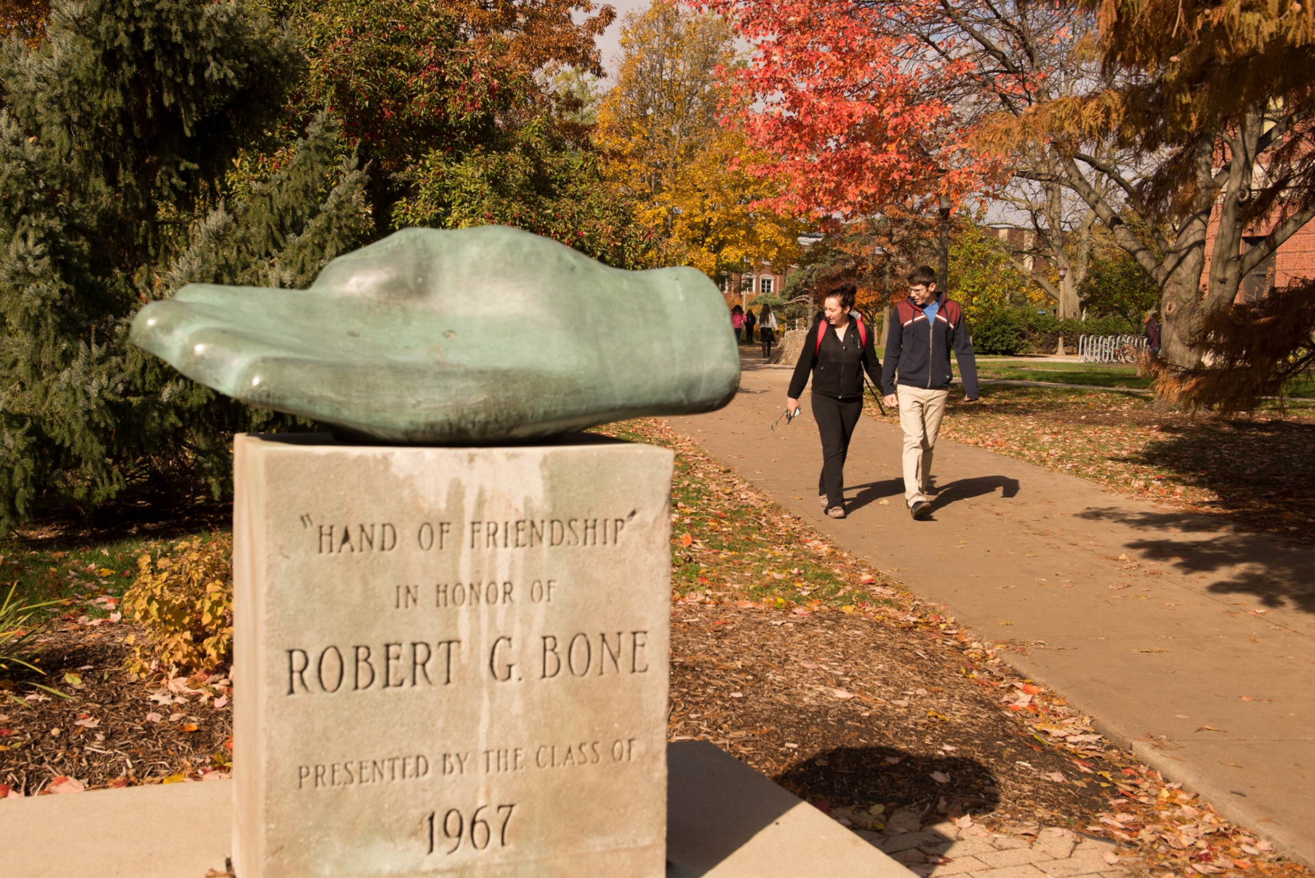 Students walking on the Quad in the autumn