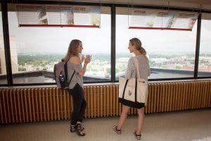 Two students overlook campus