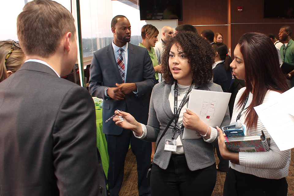 Students at a Career Center event