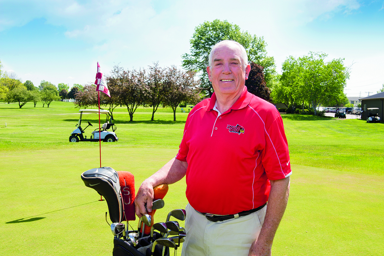 Professor Emeritus Larry Quane on the golf course