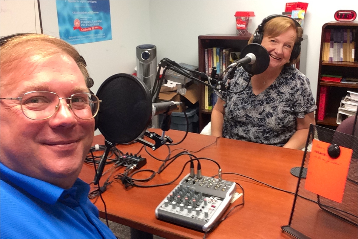 """Claire Lamonica and Jim Gee in """"Studio G"""" at CTLT"""