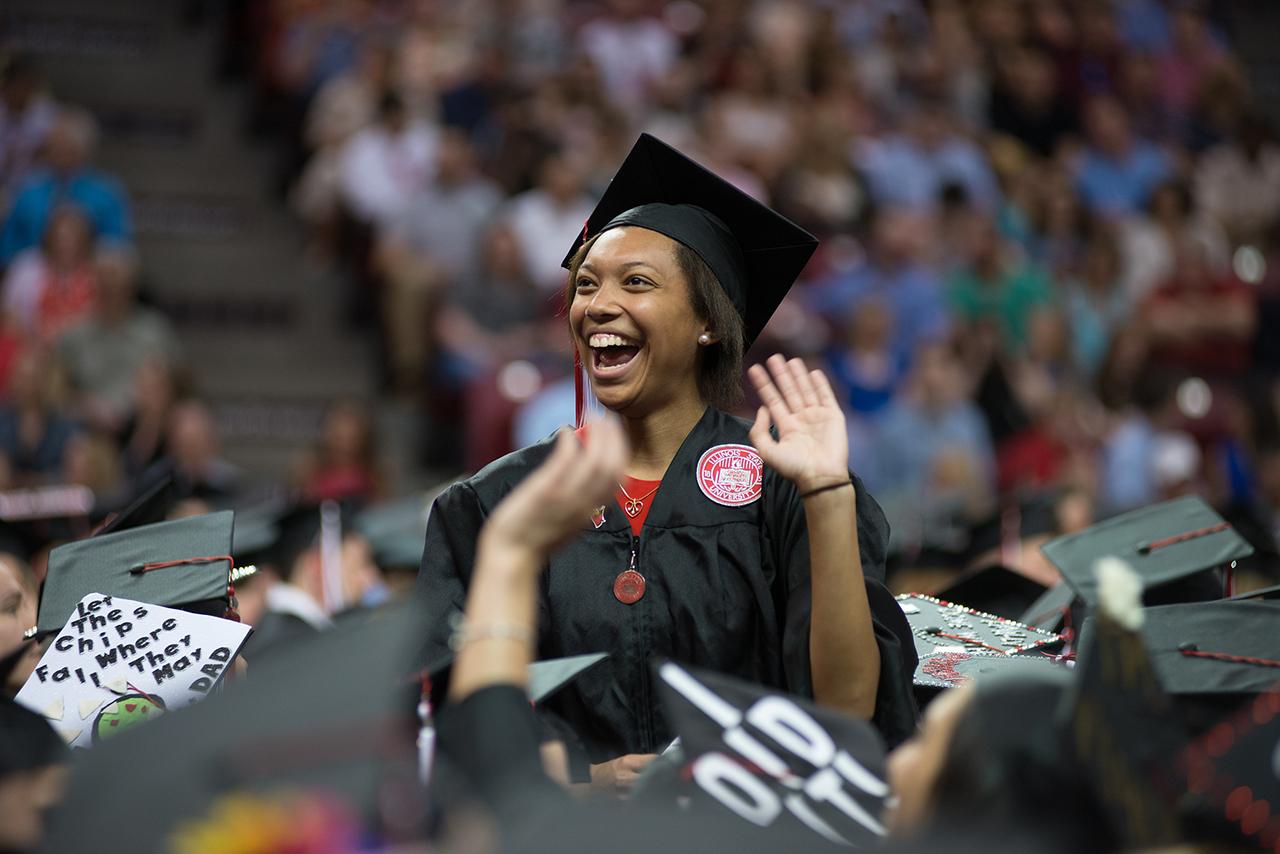 ISU grad smiles at commencement