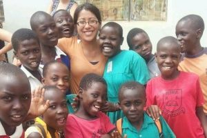 Vanessa Soto with kids in Uganda