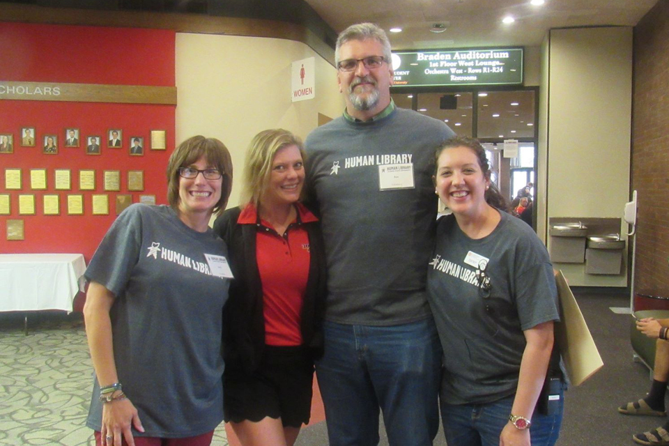A/P Council members (from left to right) Heidi Verticchio, Stephanie Duquenne, Ron Gifford, and Emily Vigneri at volunteer at Human Library.