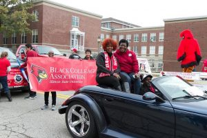image of Black Colleagues Association preparing for the Homecoming parade