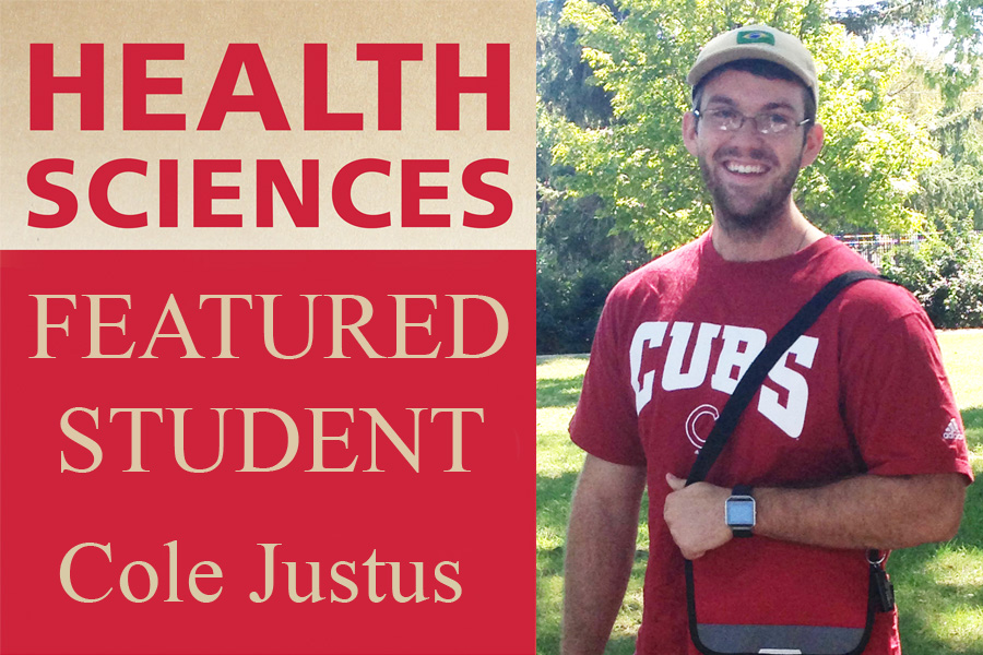 Picture of Cole Justus with text Health Sciences Featured Student