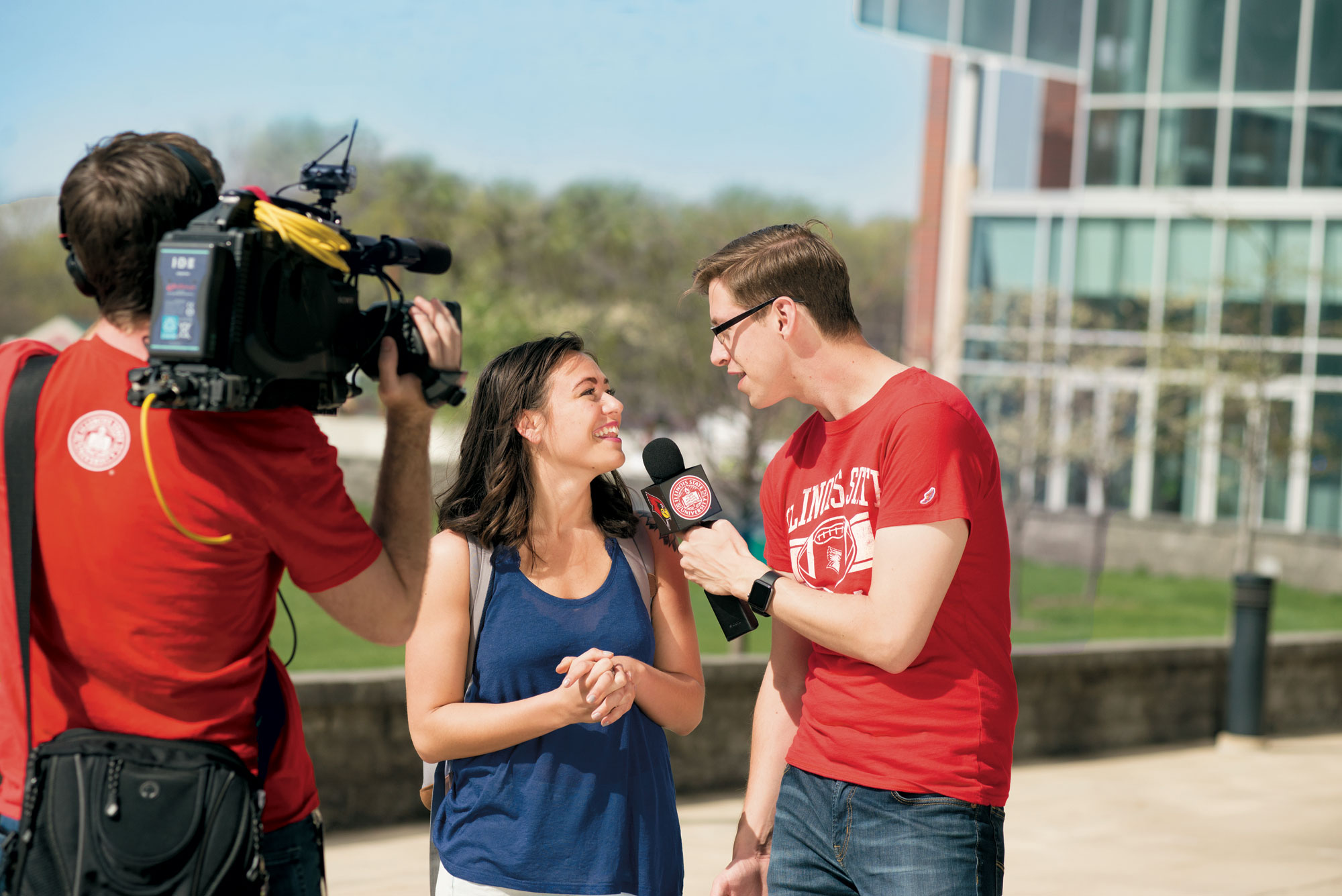 Keith Habersberger talks to a student on camera