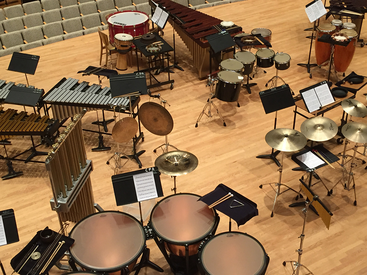 image of percussion instruments on a stage