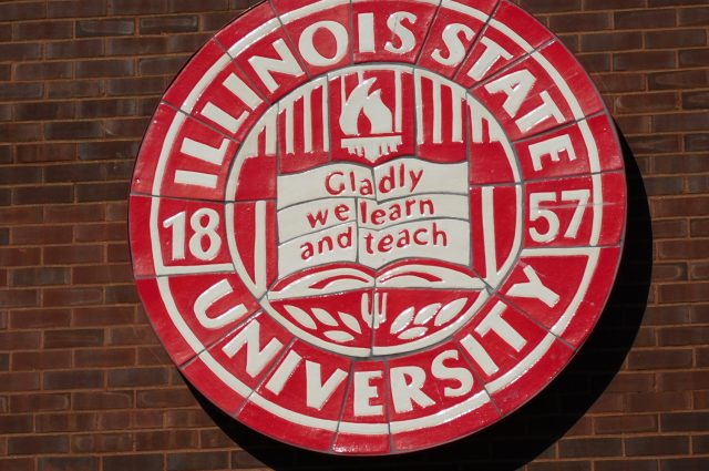 Image of the Illinois State University seal with the words Gladly we learn and teach.