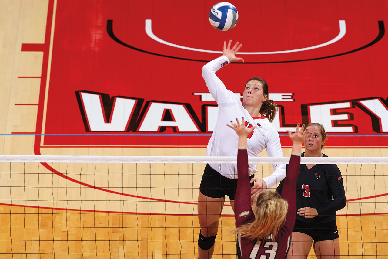Ashley Rosch in action with the Illinois State volleyball team