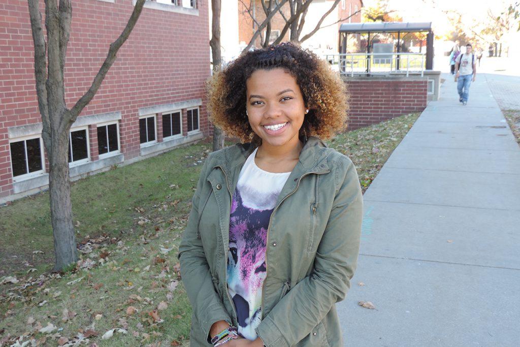 Illinois State junior Cora Hawkins outside on campus