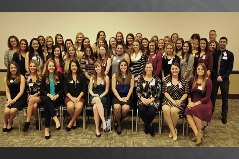 New members at the fall 2016 Xi Pi induction ceremony