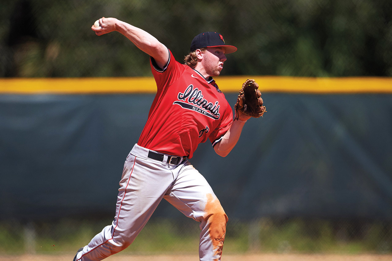 Owen Miller throwing baseball