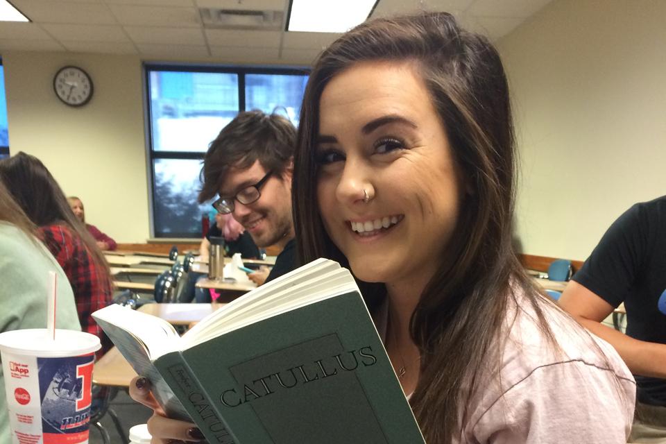 Caroline Kernan reads a book