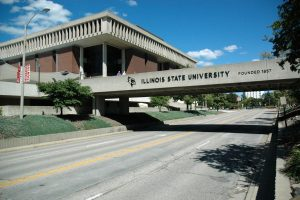 Milner Library as viewed from the southwest side of College Ave.