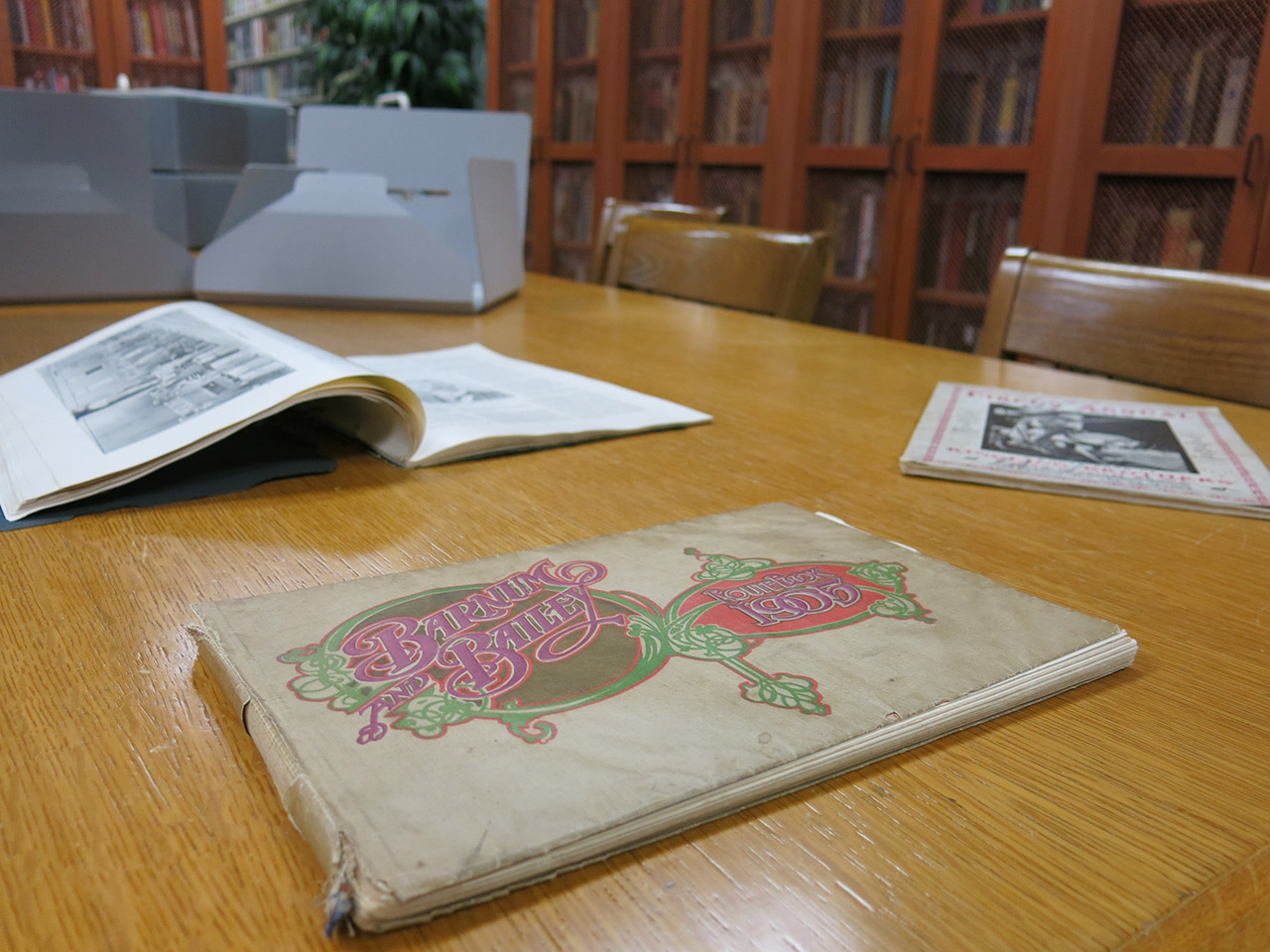 image of circus route book form Milner Library Special Collections at Illinois State University.