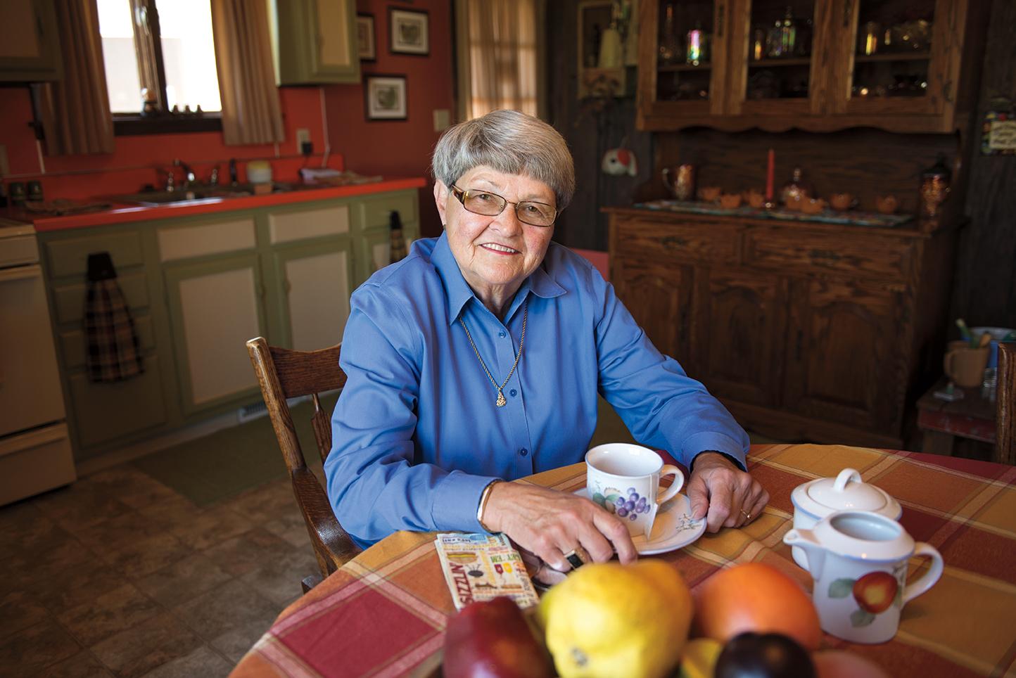 Vickie Lannie sitting at table