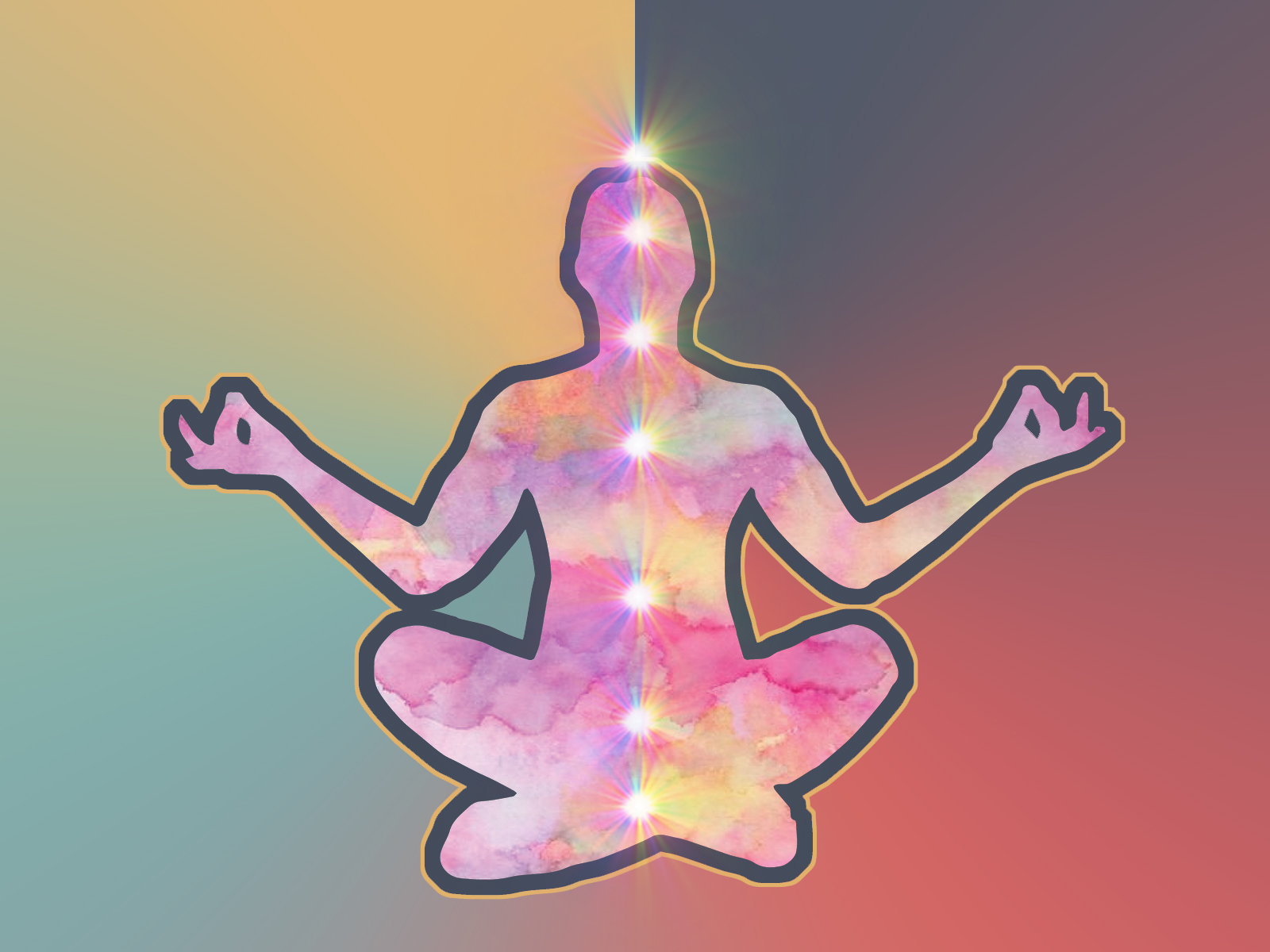 Graphic of a person meditating