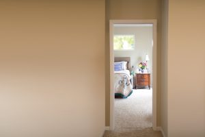 Look into hospice room from hallway