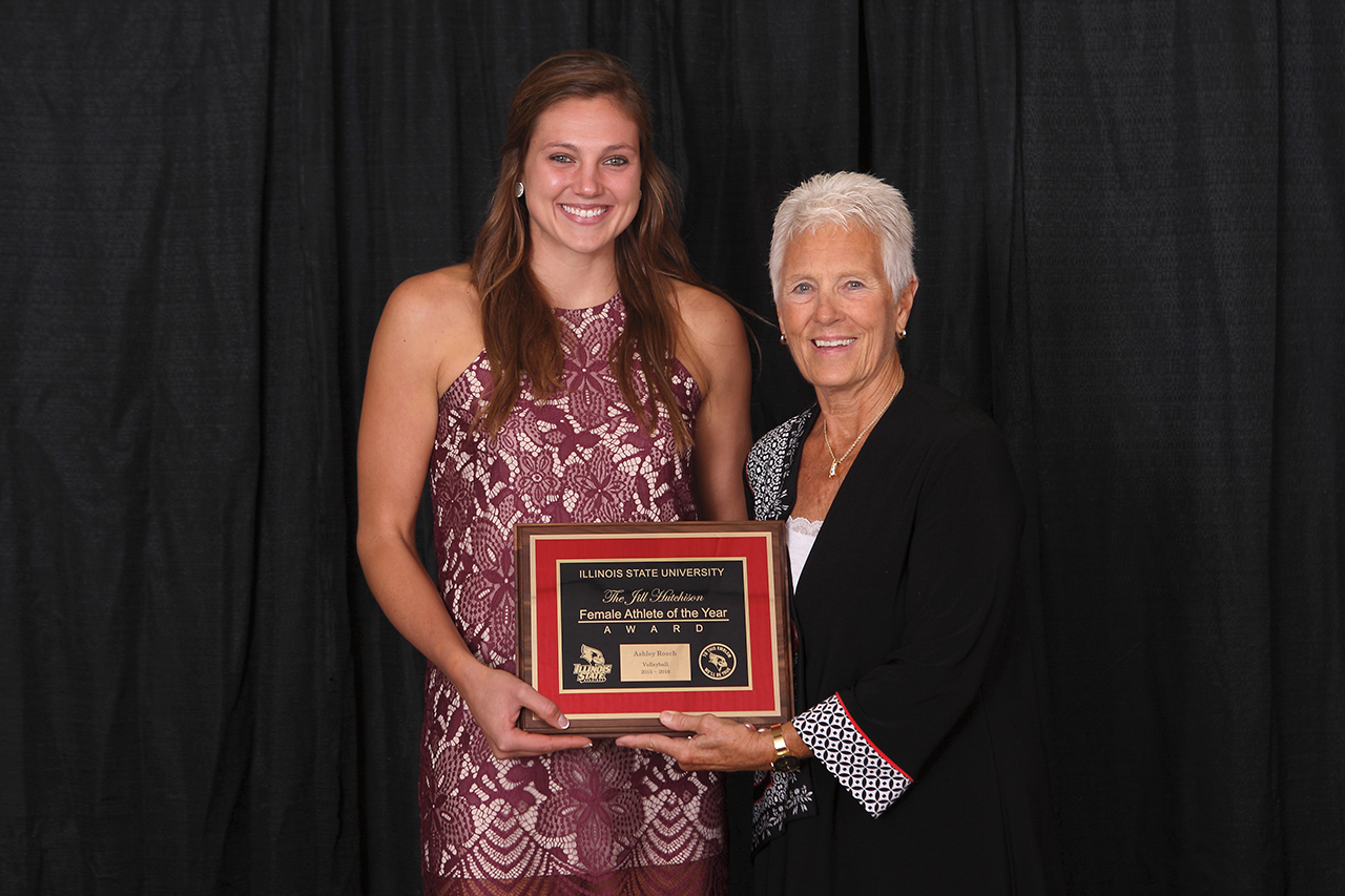 Jill Hutchison presents Ashley Rosch with the Jill Hutchison Female Athlete of the Year award.