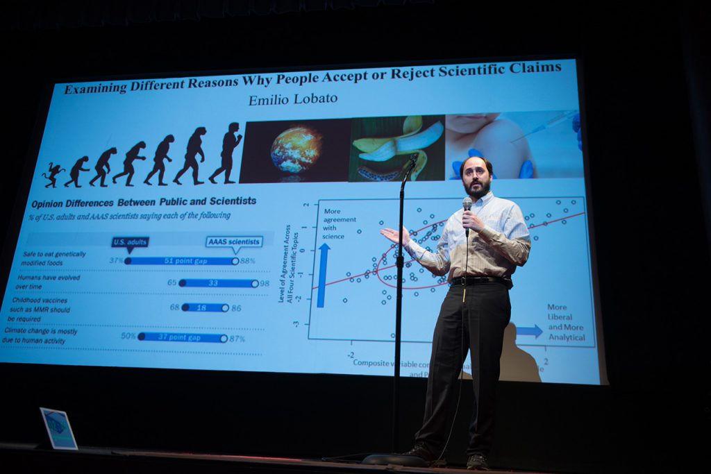 Emilio Lobato, a master's student in the Department of Psychology, placed first at Illinois State's Three Minute Thesis competition.