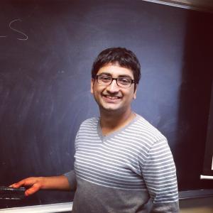 Bibek Adhikari by chalkboard