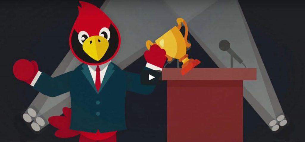 image of cartoon Reggie Redbird with a trophy.